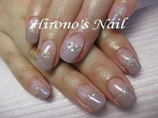 Hirono's Nail ダイヤモンドネイル★グレージュカラーグラデーション (125971)