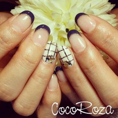 ルーズグラフチェックネイル☆|cocoroza (126419)