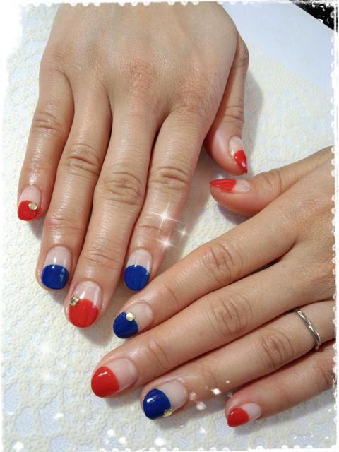 赤青まるフレンチnail★ ネイルまつげサロンGLITTER/ウェブリブログ (127332