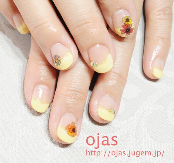 パステルイエローのフレンチ/お花がワンポイント | 深爪・噛み爪、二枚爪の改善は京都ネイルサロンojas(オージャス)へ (127676)