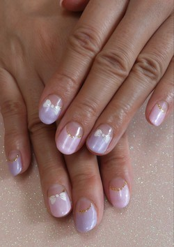 Love Nail ホームネイルサロン :ピンク×パープルフレンチ×リボン☆ (129573)