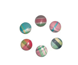 Madras Plaid Patch Fabric Magnets Set of Six by xoribbons on Etsy | We Heart It (131519)