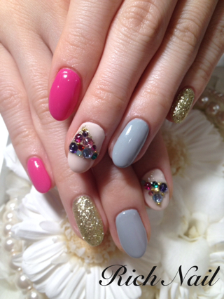 Rich Nailブログ♡♡:グレー×ピンク (132479)