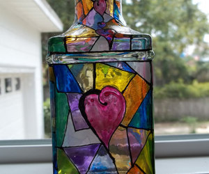 With All My Heart Abstract Design Stained Glass Bottle by Oldacres | We Heart It (134210)