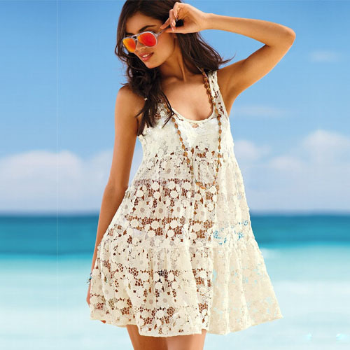 Sexy See-through Hollow Out Crochet Beach Dress  | We Heart It (151895)