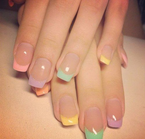 Pastel French on natural nails so no colour (plus I prefer round but the general idea lol) | ネイル | Pinterest (155818)