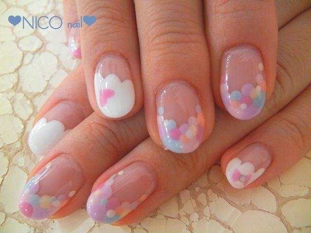 Pastel nails nail art,  Dots,  cloud,  Heart,  Valentine's Day manicure #dotticure | ♡ { Claws } ♡ | Pinterest (155820)