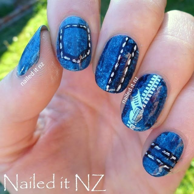 Nailed It NZ: Denim nails - zip decor review for Born Pretty Store (162593)