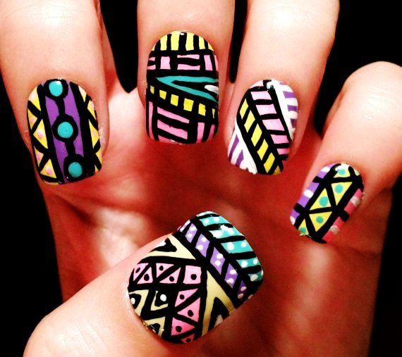 Aha~ here are tribal nails to make you smile all day long - Fashion Blog (176281)