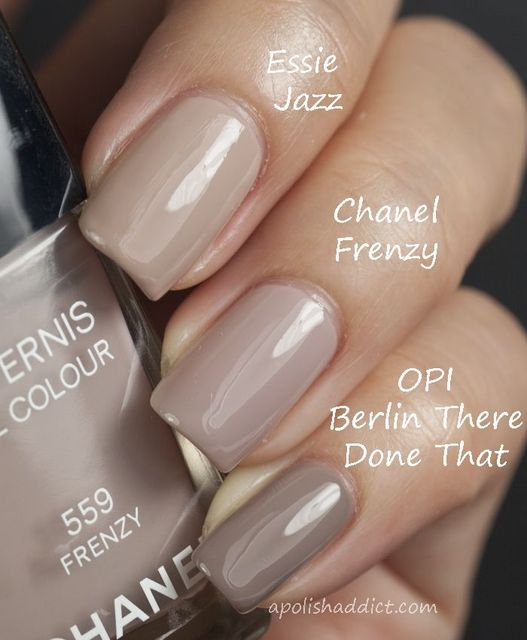 "Essie-""Jazz"",  Chanel - ""Frenzy"" and OPI - ""Berlin There Done That"".  Beautiful colors for fall. 