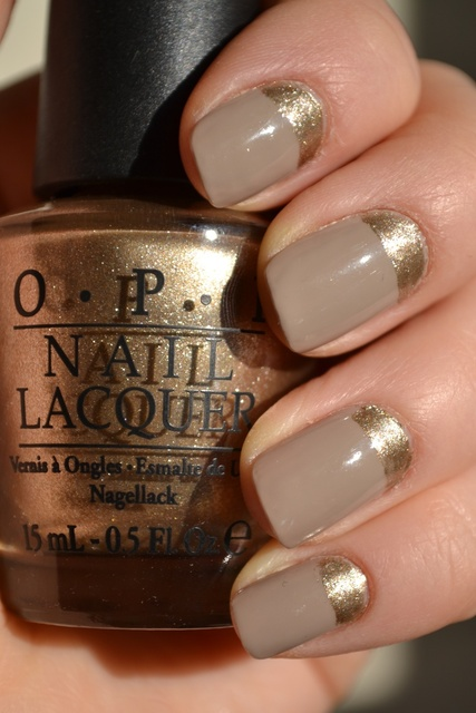 "reverse french with ""Greige"" and OPI's ""Glitzerland"" (only I'd use my Essie Ladylike, because that's what I have!) 