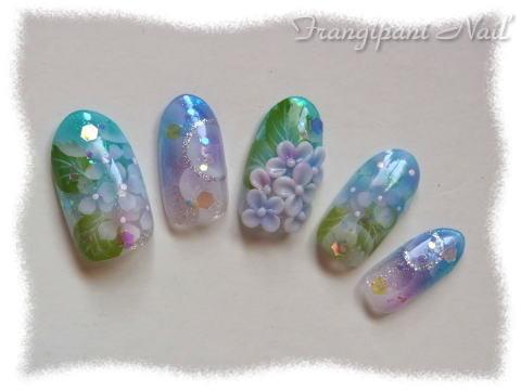 紫陽花【ネイルUP!!7月号掲載】 - ネイルチップ通販 【Frangipani Nail】 (180035)