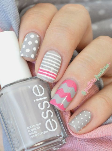Grey and Pink Mix and Match Nails ~ base polish Essie 'Take it Outside', polka dots and stripes with Essie 'Blanc' and further stripes and chevrons… | Pinterest (195638)