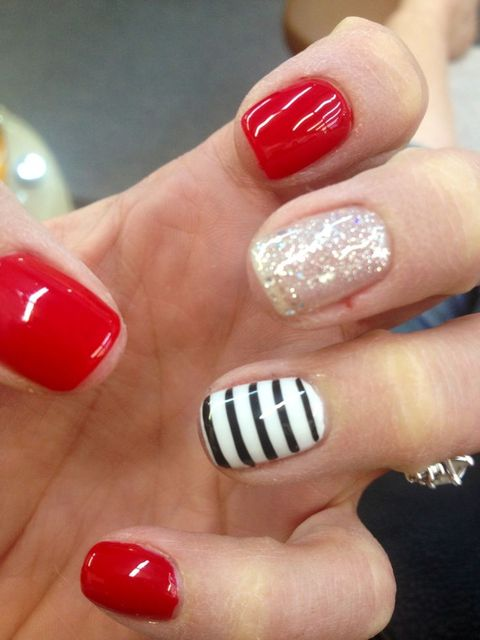 Red, striped, cute, nails. | nail | Pinterest (195640)