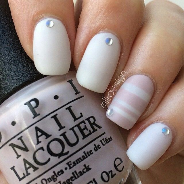 Neutral stripes with a dot of bling. #nailart #mattenails #opi | Nails | Pinterest (195654)