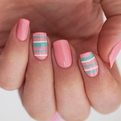 Pink, stripes nails Nail Art. Nail Design. Polishes. Polish, Romantic. Instagram by sophiesbeauty | neil | Pinterest (195657)