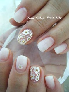 the little flowers would look cute with a French manicure :) be sure to follow me for more nail pins! :) | NAIL | Pinterest (204050)