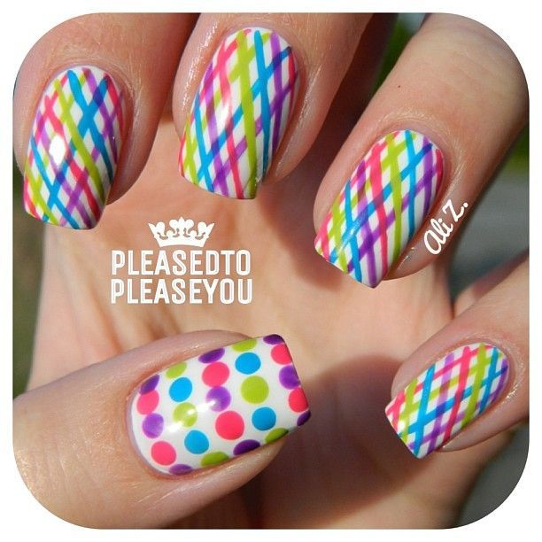 Colorful nail art with stripes and dots | Nail | Pinterest (204263)