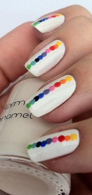 not white and just one color of dots. Rainbow Dots - nail design | ネイル | Pinterest (204267)