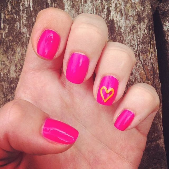 Pink manicured nails with luminous orange heart nail design. | Nails | Pinterest (207949)