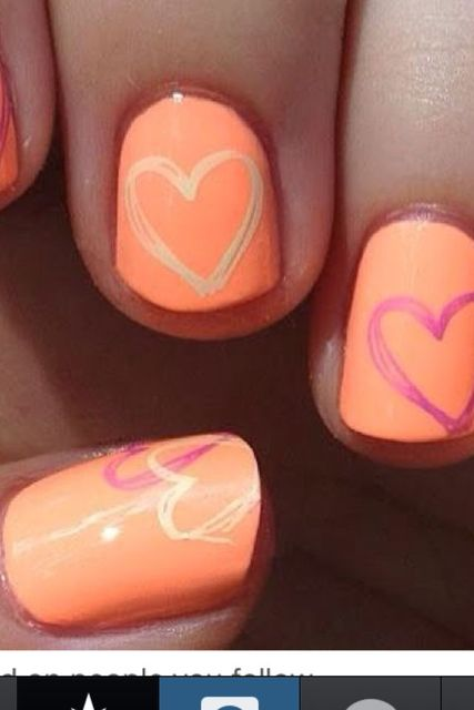 Pretty heart nails with orange backaround | Nails | Pinterest (207951)