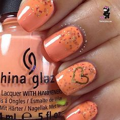 I think the sparkle in this one is peach pop which I have but I didn't want to imitate it fully, maybe next time. The heart is a nail dec, the only… | Pinterest (207975)