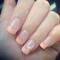My own peach french nail with nail art :) | See more nail designs at http://www.nailsss.com/nail-styles-2014/ | ネイル | Pinterest (212219)