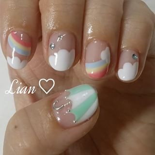 @nail_lian1310 - My nail♡傘の持ち手はCカンをカットして作ってみた^^#nail #nailart... - Enjoygram (214439)