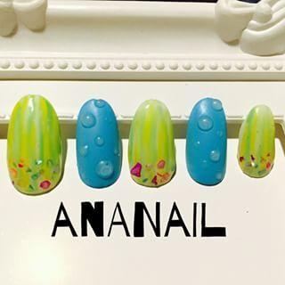 @ayanaaa82 - 夏サンプル#梅雨ネイル#水滴ネイル#nail - Enjoygram (214447)