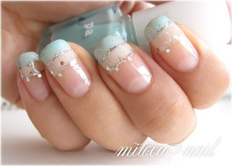 nail design. love the blue maybe coral underneath with the glitter.   Nails   Pinterest (222725)