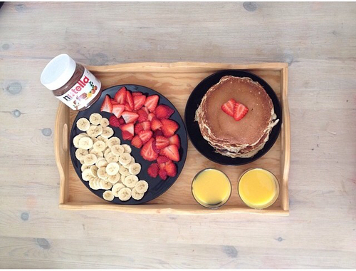 banana, breakfast, delicious, food, love, nutella, pancakes, strawberry - image #2916553 by taraa on Favim.com | We Heart It (230459)