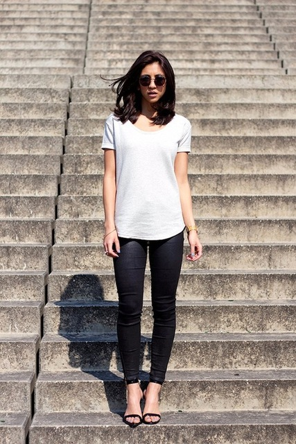 Le Fashion: Keep It Simple In A Grey Tee And Skinny Black Pants | We Heart It (236441)