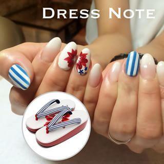 @dressnote_nail - 浴衣の下駄と同じ柄にしたい、と持ち込みデザインのリクエスト。#gel #gelnail... - Pikore (236838)
