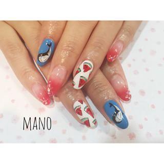 @manonail - 皆様台風の影響は大丈夫でしたか?梅雨も明けそうなので可愛い夏ネイルにしませんか♡#クジラ#... - Pikore (241636)