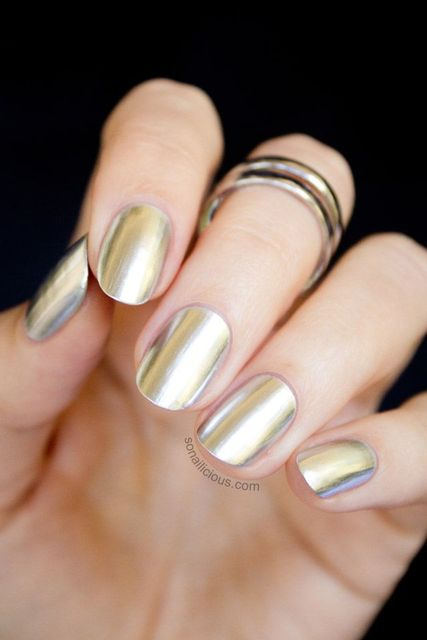 "Go platinum in liquid chrome shade ""Push and Shove"" by OPI 