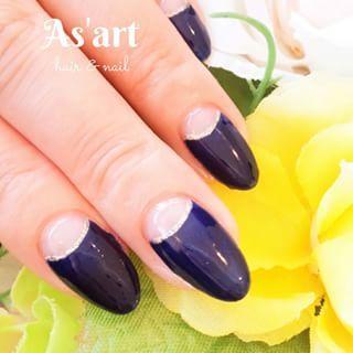 @asart_nail - ネイビー逆フレンチ✨!!#japan #asart #navy #nail... - Pikore (253096)
