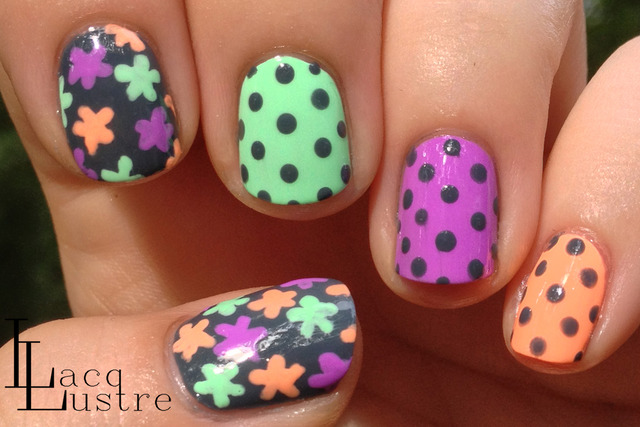 LacqLustre: Neon and Gray Floral and Dot Nail Art (253780)