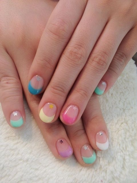 Nails, Nail Art, Nail Design, Japanese Nail Art, Manicure, Short Nails, French Manicure, French Tips, Stars, Hand Placed Glitter, Pastel, Blue, Min…   Pinterest (254275)