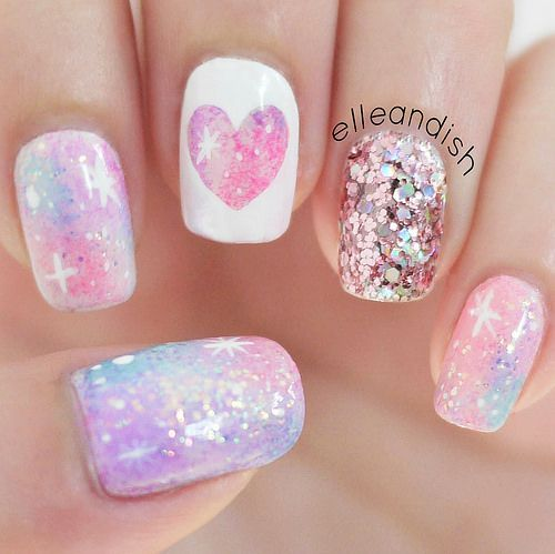 Pink Galaxy Nails by elleandish (no nail tools needed, just a striper and some tape!) | Nails | Pinterest (255776)