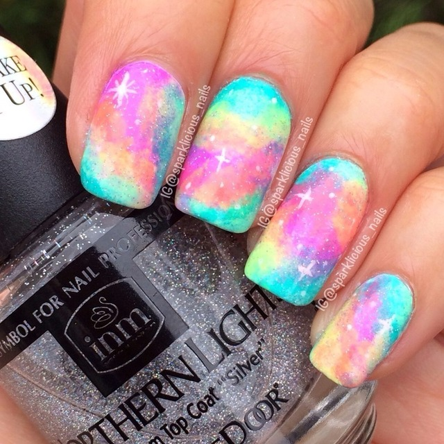 "Spring Neon Galaxy nail art by Amanda ""Sparklicious Nails"" - Nailpolis: Museum of Nail Art (260801)"
