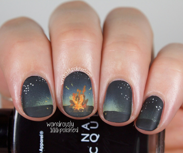 Wondrously Polished: The Digital Dozen Does Summer - Day 2: Bonfire Nail Art (261100)
