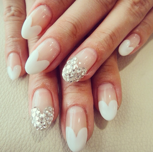 Heart shaped French nails   We Heart It (264341)