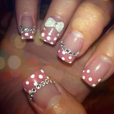 Scratch the stones and the bow-- the polka dots are cute   3D Nails   Pinterest (264435)