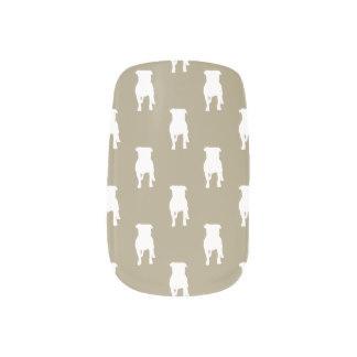 カーキ色の背景の白いパグのシルエット ネイルデコレーション | Zazzle (275749)