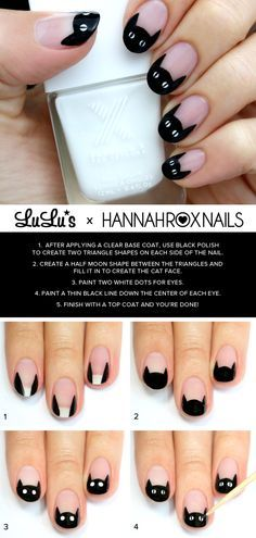 Mani Monday: Black Cat French Nail Tutorial  - Lulus.com Fashion Blog (281350)