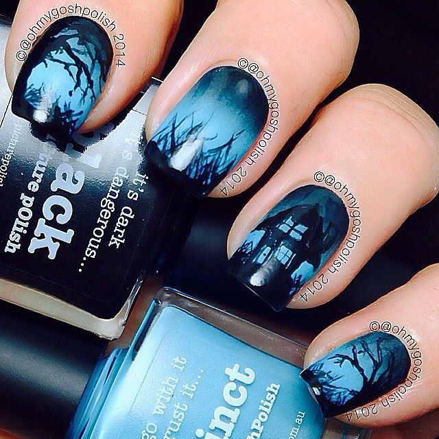 Halloween Nail Art Tutorial: Spooky Haunted House by OhMyGoshPolish (285612)