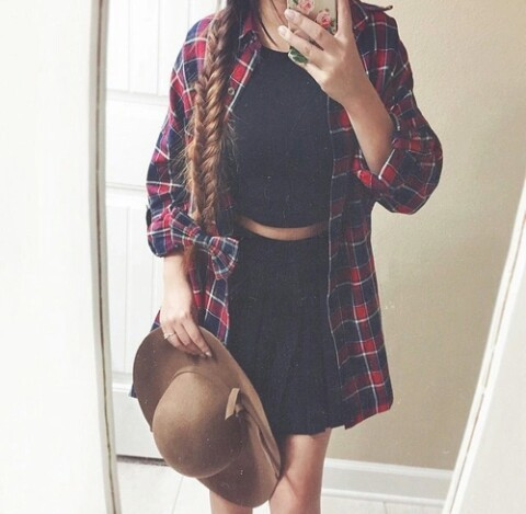 Red Plaid Blouse | We Heart It (286754)