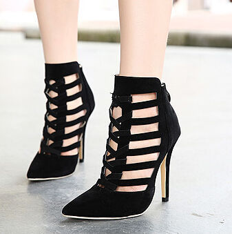 Lady Women Solid Color Hollow Out Zippered High Heel Pumps by Poppy  Vichaiko | We Heart It (315082)