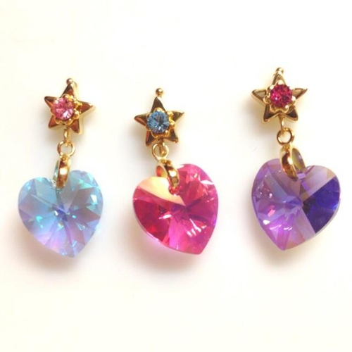 heart blue pink purple star stone Jewel magical girl mahou shoujo twinkle pierced earring            iourforeveryoung • (319713)