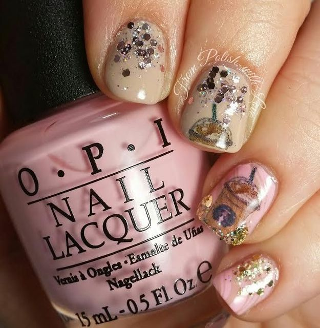 Happy Birthday Frappucino!! Starbucks Nail Art with OPI and Green Goddess Creations |From Polish, with Love (322474)